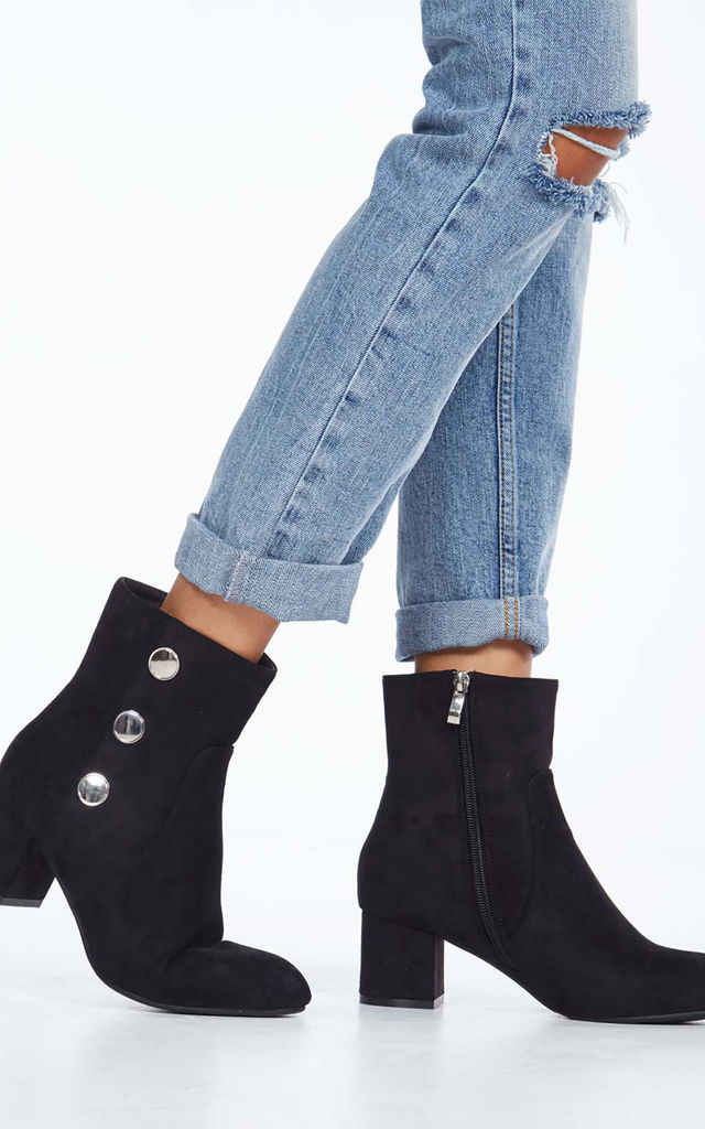 DIANA – Button Detail Ankle Black Boots by Blue Vanilla
