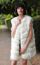 Luxury Oversized Gilet with Soft Faux Fur Panels in White by CY Boutique