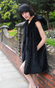 Faux Fur Oversized Longline Gilet with Hood in Black by CY Boutique