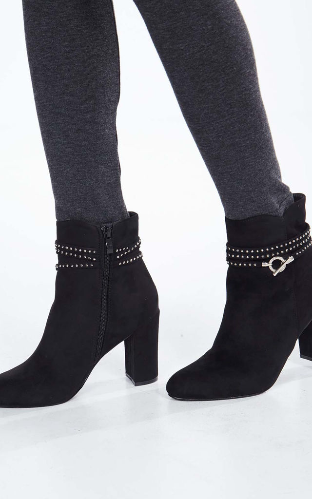 BLITHE – Diamante Strap Detail Black Ankle Boots by Blue Vanilla