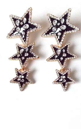 Black And Silver Crystal Star Drop Maura  Statement Earrings by Olivia Divine Jewellery Product photo