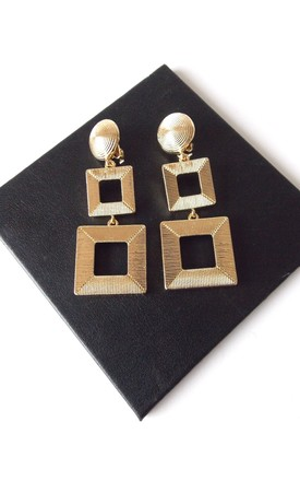Gold Square Clip-On Drop Earrings by Olivia Divine Jewellery