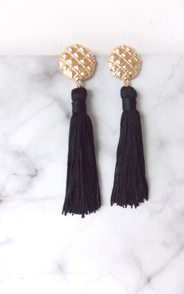 Long Black and Gold Tassel Statement Earrings. by Olivia Divine Jewellery