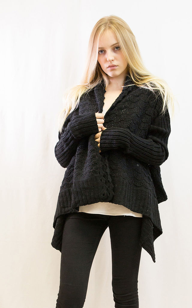 Oversized Waterfall Cardigan in Black by CY Boutique