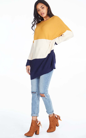 Beryl – Mustard Oversize Colour Block Jumper by Blue Vanilla Product photo