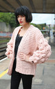 Knitted Cardigan with Oversized Sleeves in Pink by CY Boutique