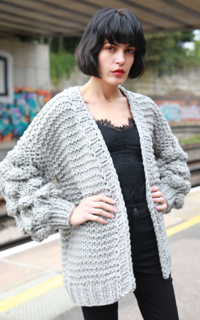 Knitted Cardigan with Oversized Sleeves in Grey by CY Boutique