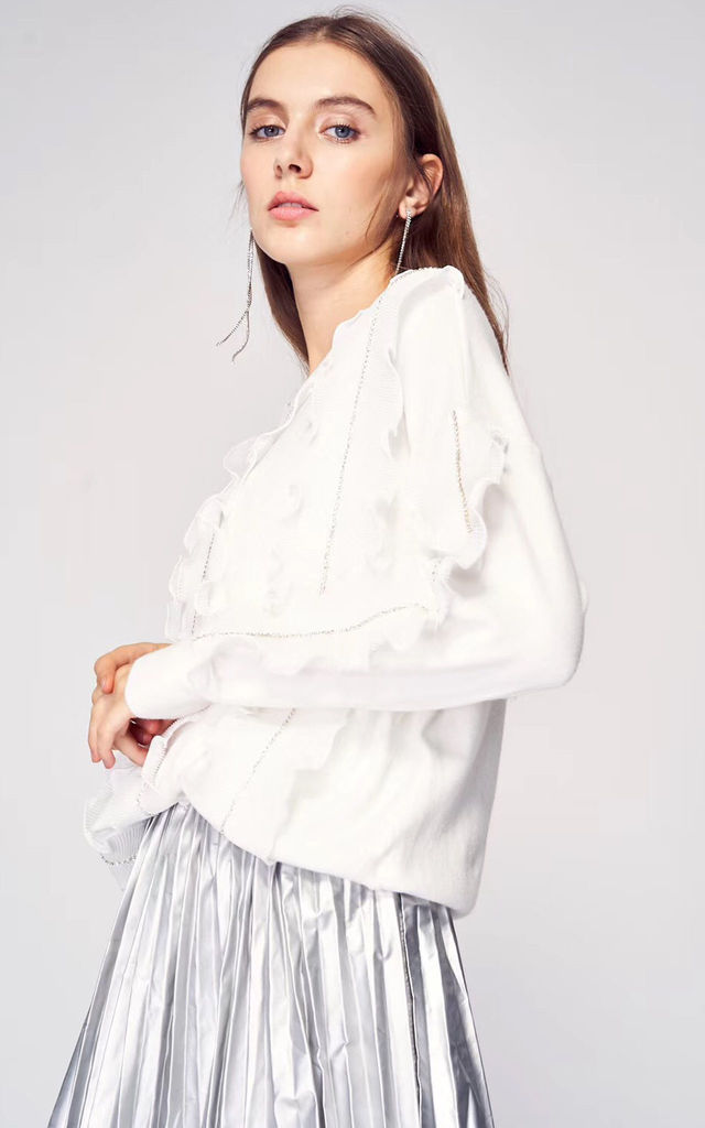 Jumper with Chiffon Frills and Crystal Embellishments in White by CY Boutique