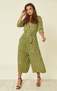 Culotte Shirt Jumpsuit Snake Print Green by Ruby Rocks
