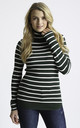 Ribbed Polo Neck Jumper in Green and Cream Stripe by Two For Joy