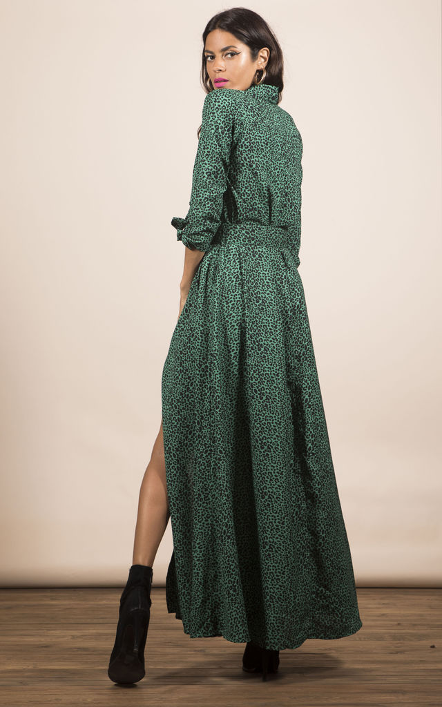 DOVE DRESS IN GREEN LEOPARD image
