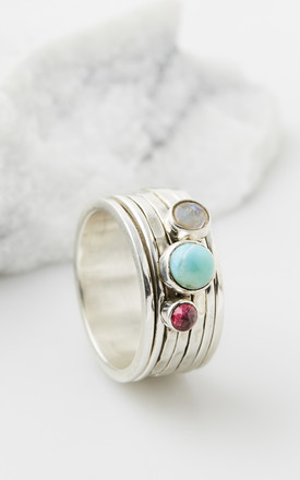 Ibiza Bliss Silver Gemstone Spinning Ring by Charlotte's Web Product photo