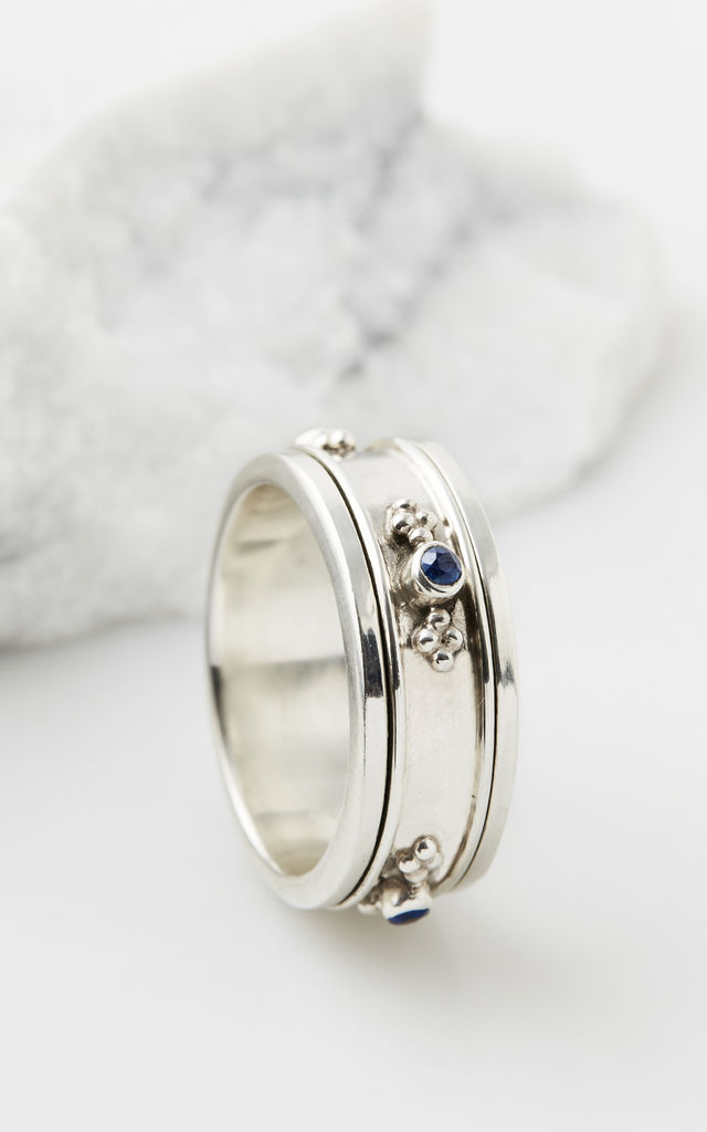 Rajput Regal Silver Spinning Ring in Sapphire by Charlotte's Web