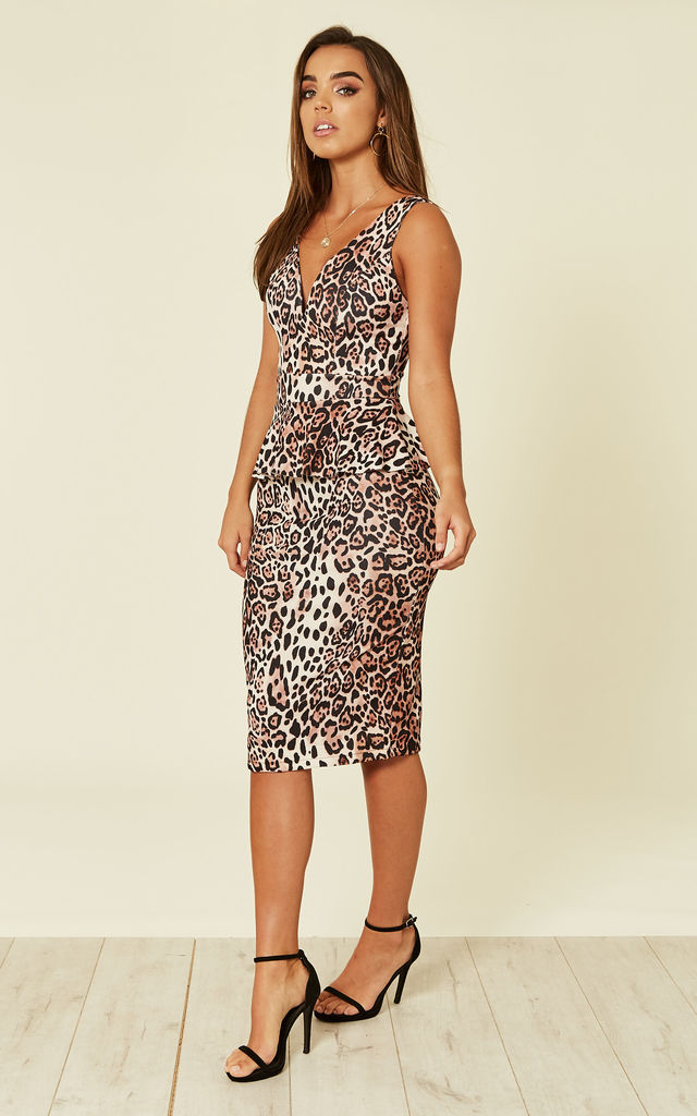 ... leopard print Peplum fitted midi dress by WalG ... 60cdc39a5aef