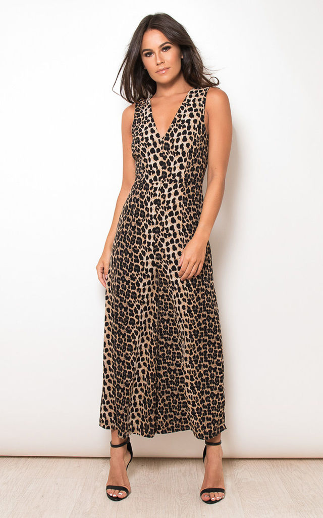 d43a4fc8f9df Polly V Neck Culotte Jumpsuit Animal Print by Girl In Mind