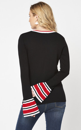 Crew Neck Black Jumper with Red Striped Cuff by Two For Joy