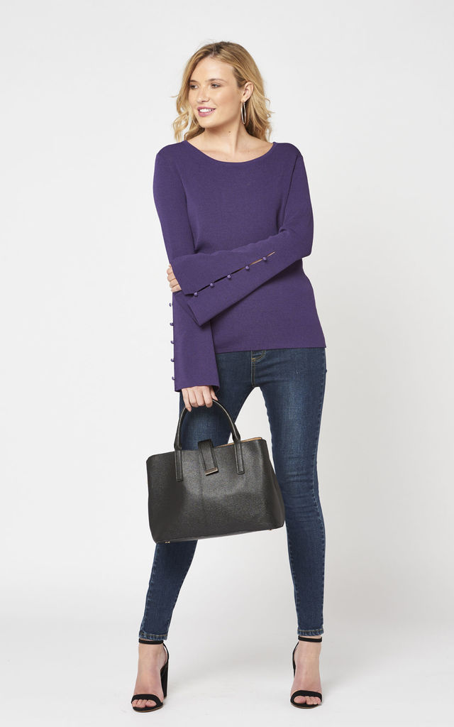 Crew Neck Purple Jumper with Button Bell Sleeves by Two For Joy