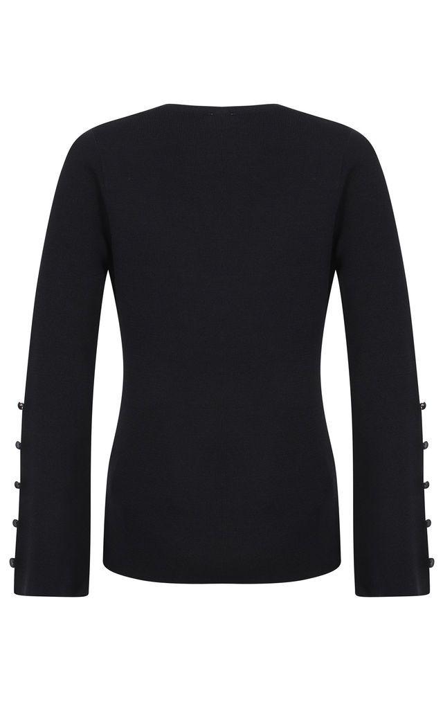 Crew Neck Navy Jumper with Button Bell Sleeves by Two For Joy