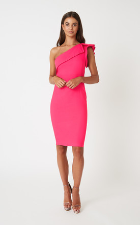 Monty Cerise Frill One Shoulder Dress by Vesper247 Product photo