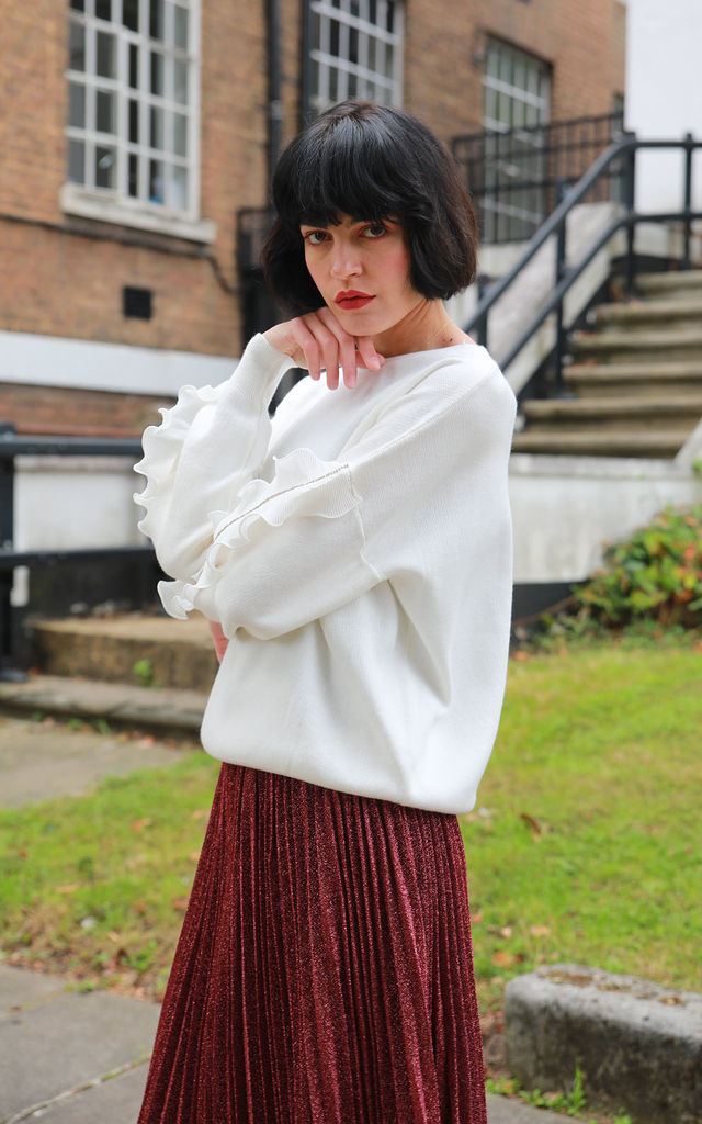 White Jumper with Chiffon Frilled Sleeves & Crystals by CY Boutique