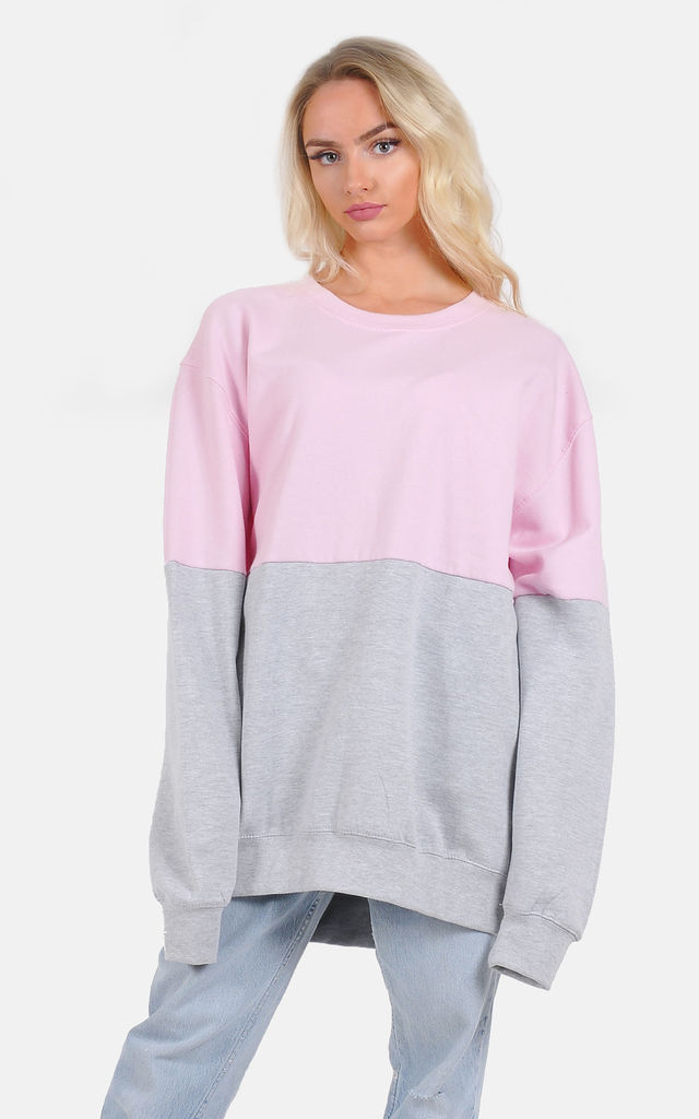 Half pink and Grey oversized jumper dress by The Left Bank