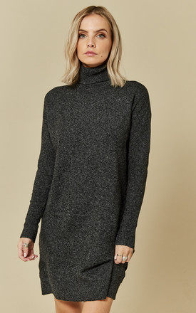 Black Long Sleeve Rollneck Knit Dress by VM Product photo
