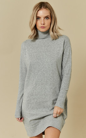 7dbd6139cd Light Grey Melange Long Sleeve Rollneck Knit Dress