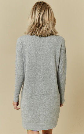 Light Grey Melange Long Sleeve Rollneck Knit Dress by VM
