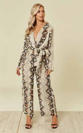 40fd2d412a Python Snakeskin Print Long Sleeves Jumpsuit
