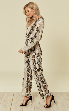 Python snakeskin print long sleeves jumpsuit by D.Anna