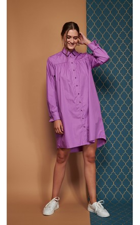 Melodie Shirt Dress In Cotton Poplin by CocooVe Product photo