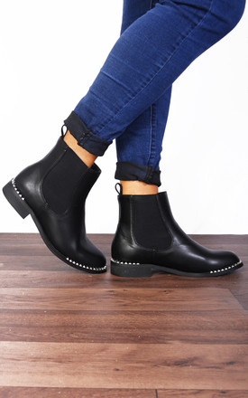 Black Studs Studded Chelsea Flat Ankle Boots by Shoe Closet