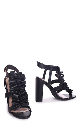 Shanell Black Nappa Block Heel With Ruffle Front Design by Linzi