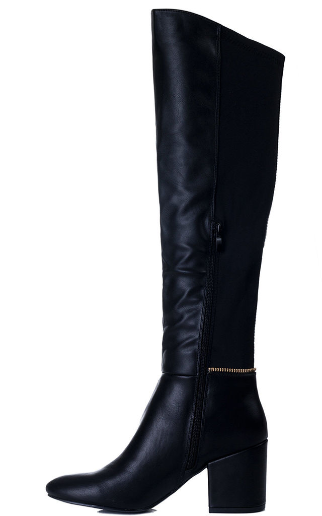 EAGLEY Zip Block Heel Knee High Tall Boots - Black Leather Style by SpyLoveBuy
