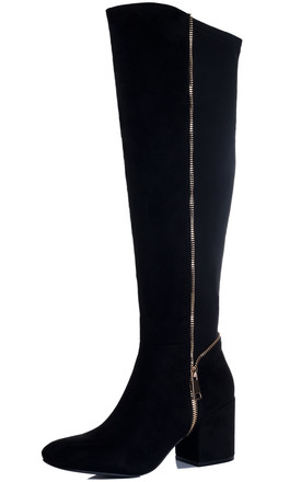 EAGLEY Zip Block Heel Knee High Tall Boots - Black Suede Style by SpyLoveBuy