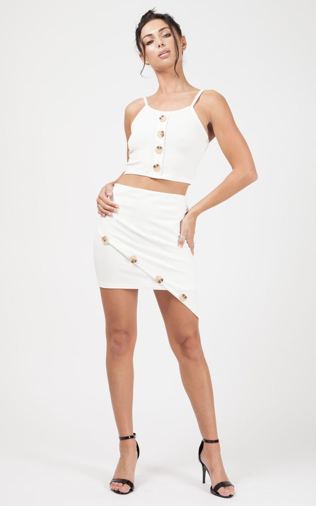 Mía Button Detail Crop Top & Skirt Co-ord In Cream by Vivichi