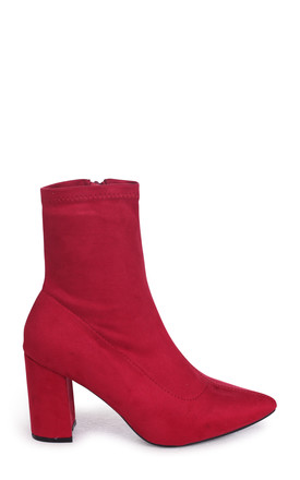 Lucile Red Suede Heeled Ankle Boot With Pointed Toe by Linzi