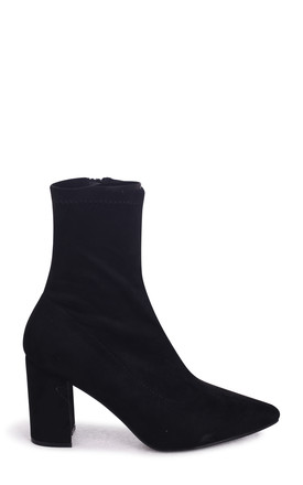 Lucile Black Suede Heeled Ankle Boot With Pointed Toe by Linzi