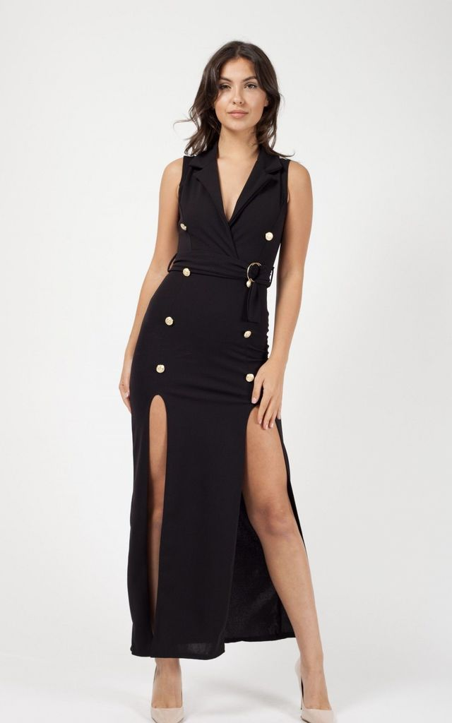 Kassandra Button Detail Split Maxi Dress In Black by Vivichi