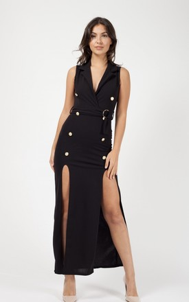 Kassandra Button Detail Split Maxi Dress In Black by Vivichi Product photo