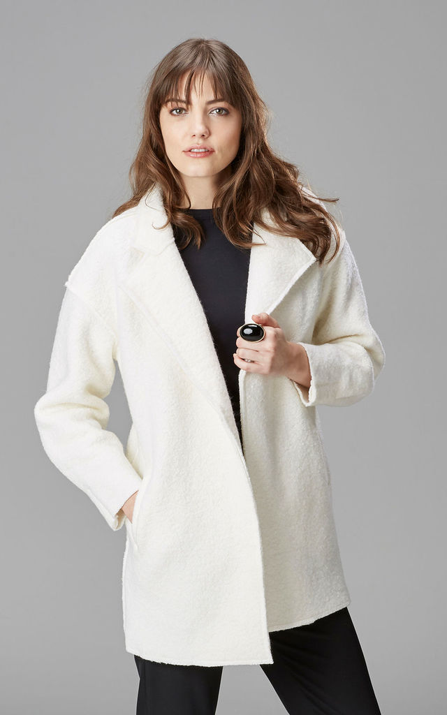 Winter White Wool Blend Coat by Very Stylish Girl