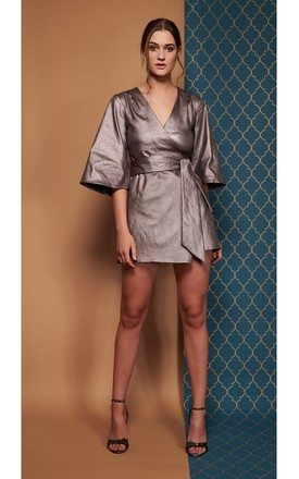 Mary H Wrap Metallic Dress Kimono by CocooVe Product photo