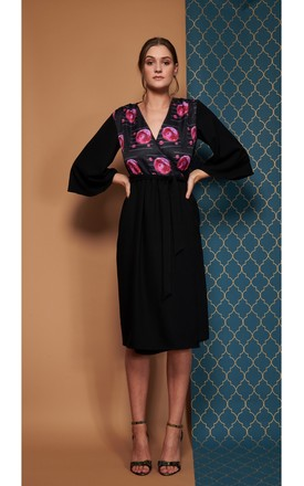 Pearl Wrap Dress In Black With Floral Planet Print Detail. by COCOOVE Product photo