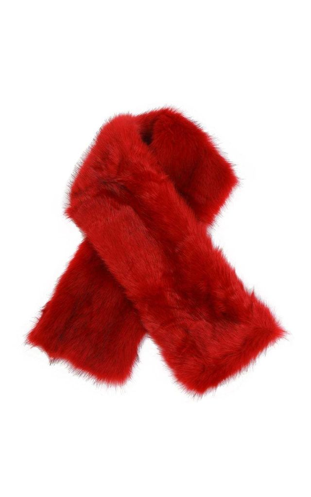 Red Fluffy Faux Fur Evening Scarf by Urban Mist