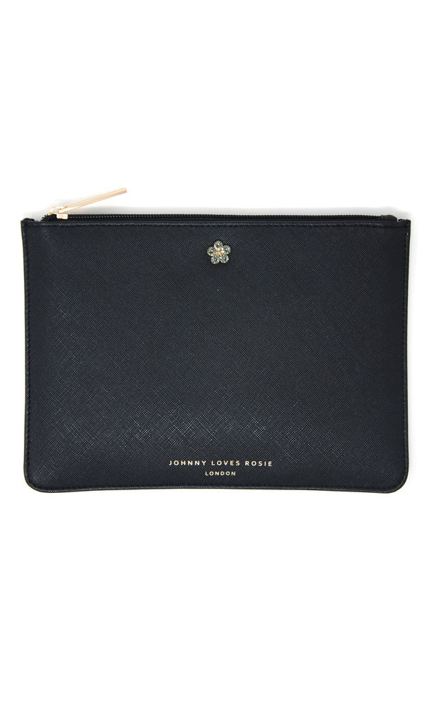 Black Jewelled Medium Pouch by Johnny Loves Rosie