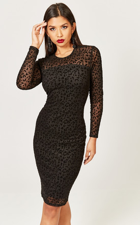 a3f0f95f65c Black Leopard Velvet Burn Out Bodycon Dress