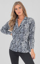 Snake Print Long Sleeve Over Size Shirt Blouses Top In Blue by Saint Genies