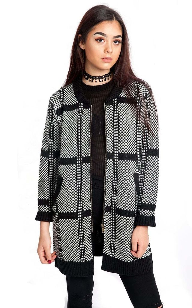 Black Check Stripe Pattern Knitted Cardigan by Urban Mist