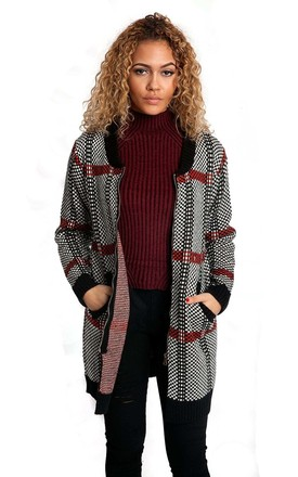 Red Check Stripe Pattern Knitted Cardigan by Urban Mist