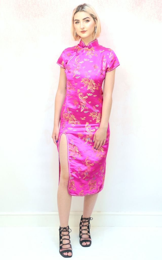 c360fc7a3f0 1990s vintage pink and gold Chinese thigh slit midi dress by Colour Me  Vintage